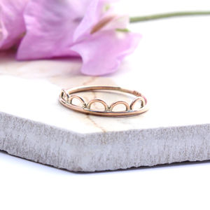Pablo Delicate Scalloped 9ct Rose Gold Ring - rings