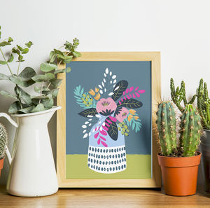 Flowers In A Vase Floral Illustration Print