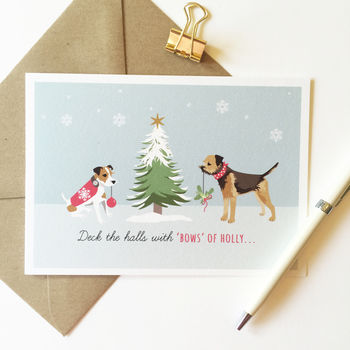 Jack Russell And Border Terrier Pack Of Christmas Cards