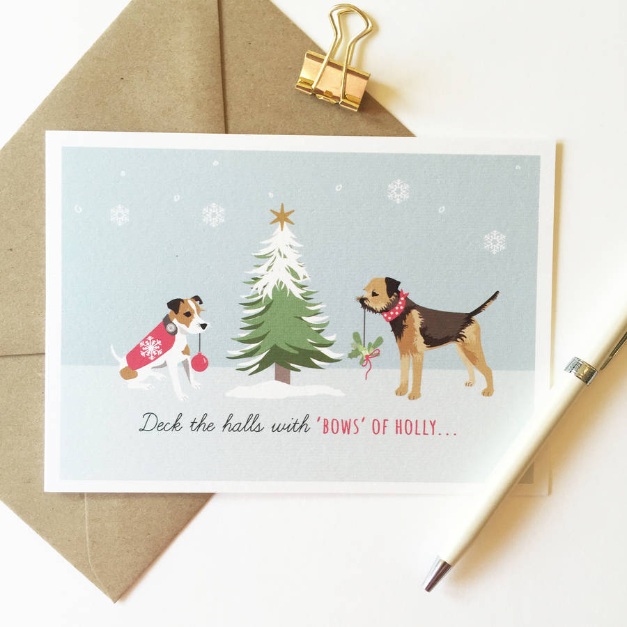 jack russell and border terrier pack of christmas cards by sirocco ...
