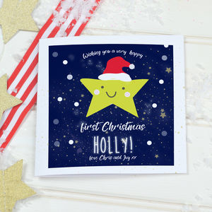 Personalised Baby's First Christmas Card 'Star' - cards & wrap