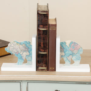 The Great Outdoors World Map Antartic Bear Bookends - bookends