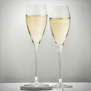Personalised Mr And Mrs Wedding Flutes - drink & barware