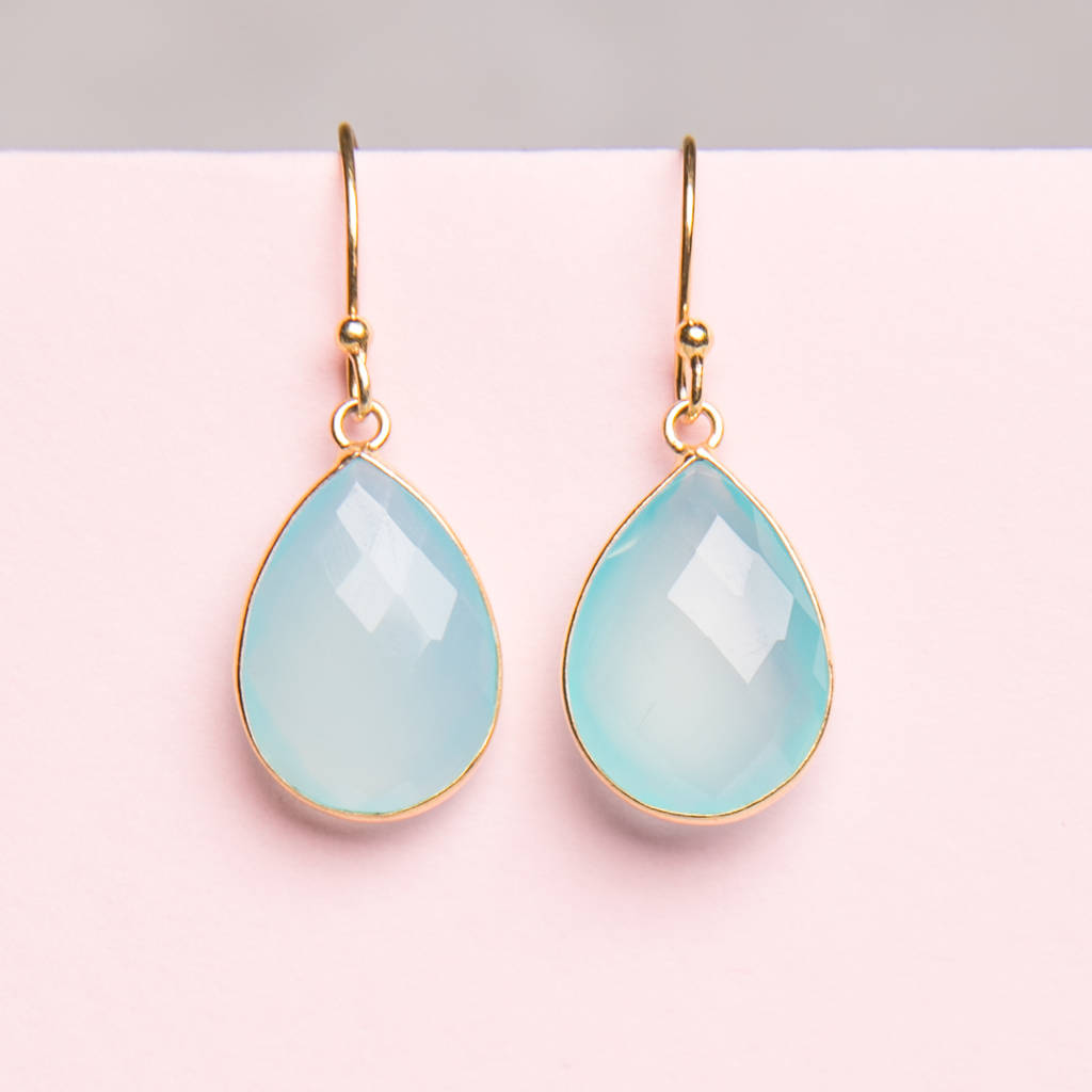 Aquamarine Blue Gold Drop Earrings