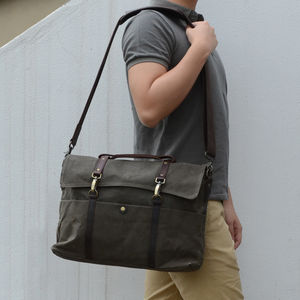 Classic Waxed Canvas Laptop Messenger Bag