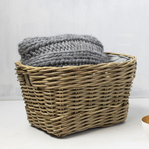 Round Grey Lined Rattan Basket