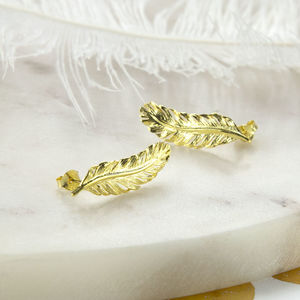 Gold Plated Sterling Silver Feather Stud Earrings