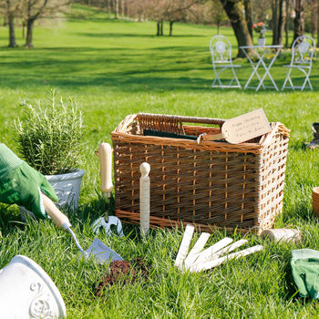 Personalised Wicker Gardening Tools And Basket