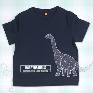 Child's Personalised Brachy Dinosaur T Shirt - shop by recipient