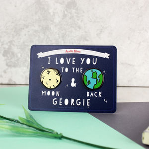 I Love You To The Moon And Back Enamel Pin Set - valentine's gifts for her
