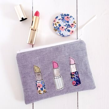 Lipstick Makeup Bag And Mirror Set