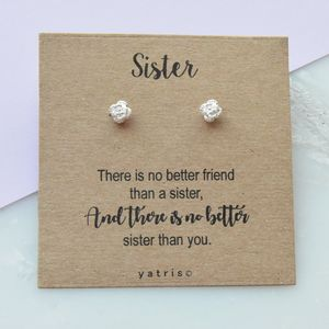 Sister Silver Rose Earring Stud Gift Box - gifts for sisters