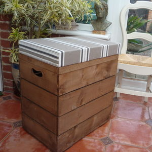 Vintage Style Double Crate Seat With Three Inch Cushion - storage & organisers