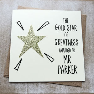 Personalised Gold Star Of Greatness Teacher Card
