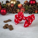 Red Christmas Reindeer Dog Bow Tie