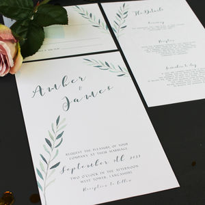 Olive Branch Watercolour Wedding Invitation - new in wedding styling