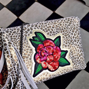 Leather Rose Sequined Bag