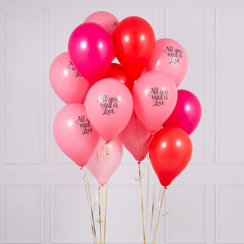 Pack Of 14 All You Need Is Love Party Balloons