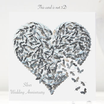 Silver Wedding Anniversary Butterfly Heart Card