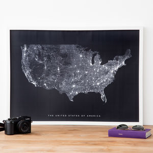 USA Roads And Paths Contemporary Map Print