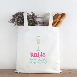 Personalised Save Water, Drink Prosecco! Shopping Bag