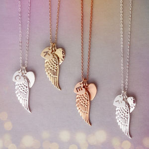 Personalised Angel Wing Charm Necklace - necklaces & pendants