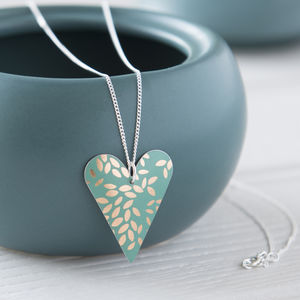 Jade Green And Gold Leaf Print Heart Pendant Necklace