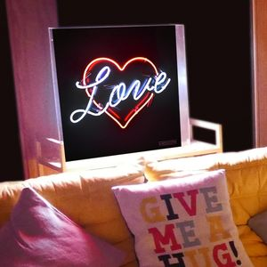 'Love' Heart Typographic Neon Light Sign