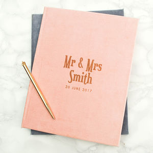 Luxury Velvet Personalised Wedding Book - engagement gifts