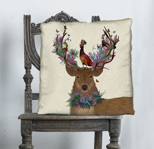 Scottish Woodland Deer Decorative Cushion - living room