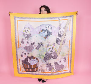 Ladies Panda Print Square Silk Scarf