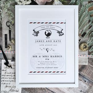 Vintage Travel Wedding Anniversary Print - view all