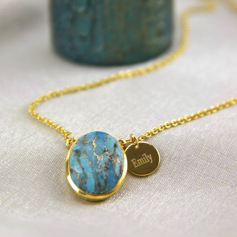 8c52e46462038a personalised gold turquoise necklace by gaamaa | notonthehighstreet.com