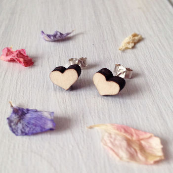 Wood And Silver Heart Stud Earrings