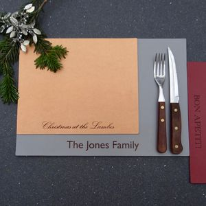Personalised Leather Christmas Placemats - placemats & coasters