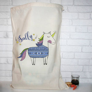 Personalised Cotton Christmas Unicorn Jumper Santa Sack - stockings & sacks
