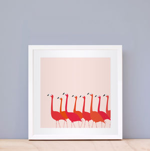 Flamingoes Dance Print Pink - posters & prints