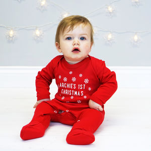 Personalised Snowflake First Christmas Sleepsuit - children's christmas clothing