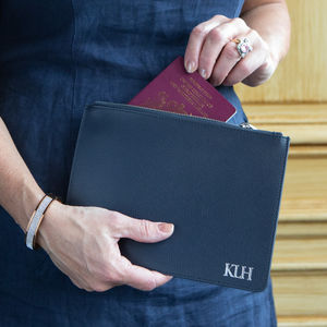 Personalised Leather Travel Pouch - passport & travel card holders