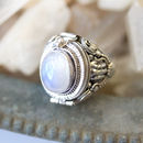 Detailed Gemstone Locket Sterling Silver Ring