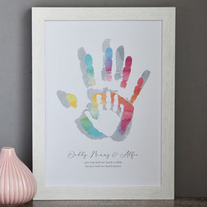 Personalised Daddy Mummy And Child's Handprint Print - posters & prints