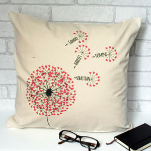 Dandelion Personalised Family Cushion - living room