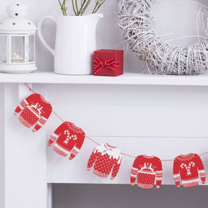 Red And White Wooden Jumper Bunting Decoration