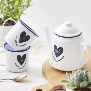 Couples Personalised Enamel Teapot - kitchen