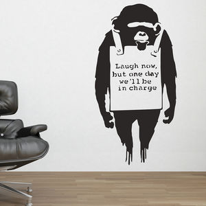 Banksy Monkey Sign Wall Stickers - wall stickers