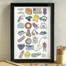 Swimming Alphabet Art Print Unframed