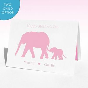 Personalised Elephants Mother's Day Card - birthday cards
