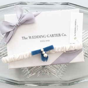 Velvet And Silk Something Blue Wedding Garter - bridal garters