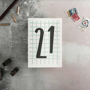 21 Tall Number Letterpress Birthday Card
