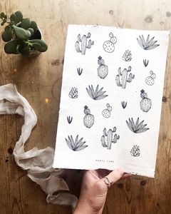 'Party Time' Cactus Print On Handmade Paper